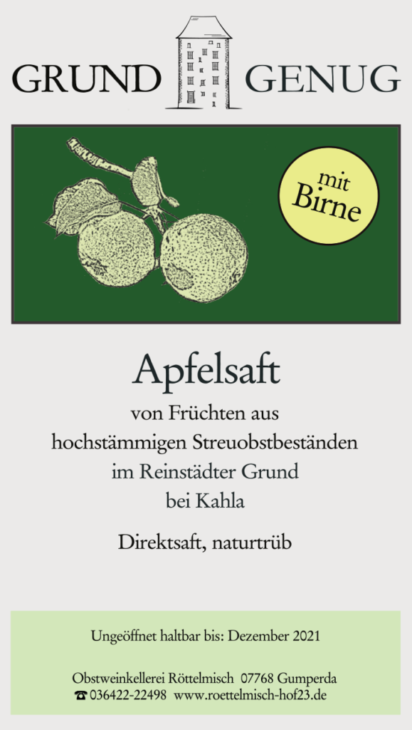 Apfelsaft mit Birne, Reinstädter Grund